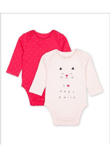 Mothercare | Girls Full Sleeves Text Print Bodysuit - Pack Of 2 - Multicolor