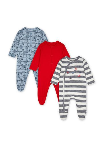 Mothercare | Boys Full Sleeves Sleepsuit Vehicle Print - Pack Of 3 - Multicolor