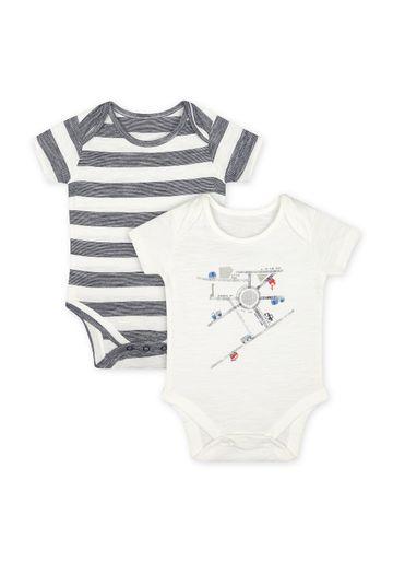 Mothercare | Boys Half Sleeves Bodysuit - Pack Of 2 - White