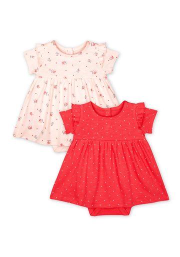 Mothercare | Girls Half Sleeves Printed Romper Dress - Pack Of 2 - Multicolor
