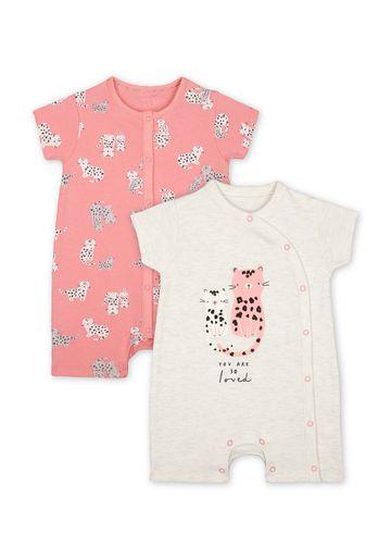 Mothercare | Girls Half Sleeves Rompers  - Pack Of 2 - Pink