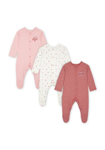 Mothercare | Girls Full Sleeves Sleepsuits  - Pack Of 3 - Pink
