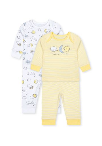 Mothercare | Unisex Full Sleeves Pyjama Sets - Pack Of 2 - Yellow
