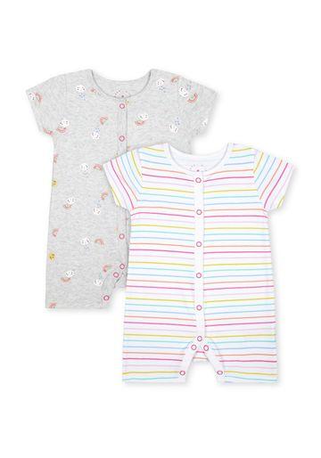 Mothercare | Unisex Half Sleeves Rompers  - Pack Of 2 - Blue