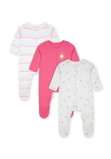 Mothercare | Girls Full Sleeves Sleepsuits  - Pack Of 3 - Multicolor