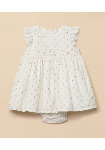 Mothercare | Girls Half Sleeves Sparkle Embroidery Dress - White