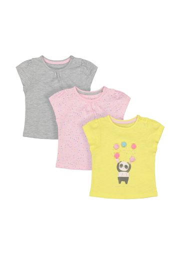 Mothercare | Girls Half Sleeves Round Neck T-shirts  - Pack Of 3 - White