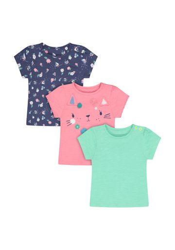 Mothercare | Girls Half Sleeves Round Neck T-shirts  - Pack Of 3 - Multicolor