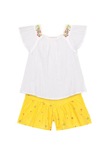 Mothercare | Girls Half Sleeves Embroidered Tops And Shorts Set - White Yellow