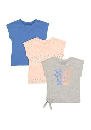 Mothercare   Girls Half Sleeves Round Neck T-shirts  - Pack Of 3 - Multicolor
