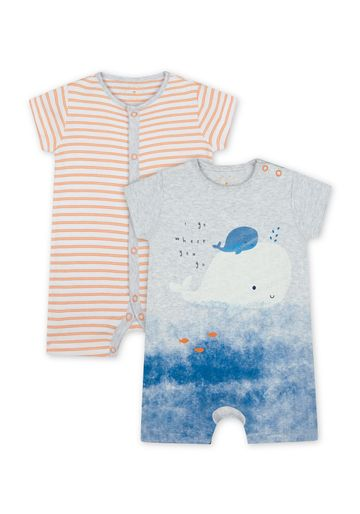 Mothercare   Boys Half Sleeves Whale Print And Striped Romper - Pack Of 2 - Multicolor