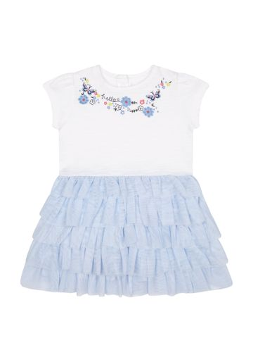 Mothercare | Girls Half Sleeves Embroidered Mesh Dress - White Blue