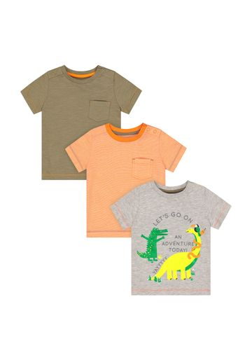 Mothercare | Boys Half Sleeves Round Neck T-shirts  - Pack Of 3 - Multicolor