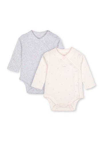 Mothercare   Girls Full Sleeves Printed Bodysuit - Pack Of 2 - Pink Grey