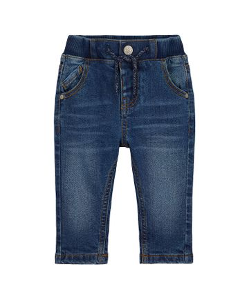 Mothercare   Boys Mid-Wash Jeans Jersey Lined - Blue