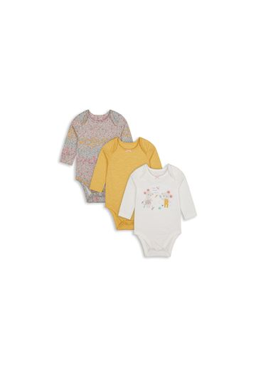 Mothercare | Girls Full Sleeves Mouse Patch Work Bodysuit - Pack Of 3 - Multicolor
