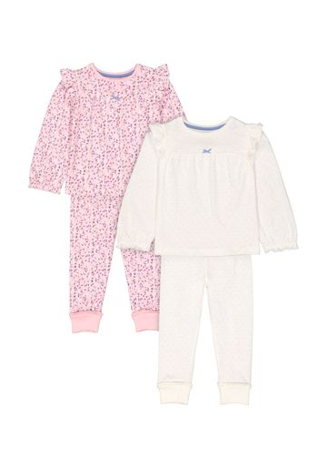Mothercare   Girls Full Sleeves Pyjama Set Polka Dot And Floral Print - Pack Of 2 - Pink Cream