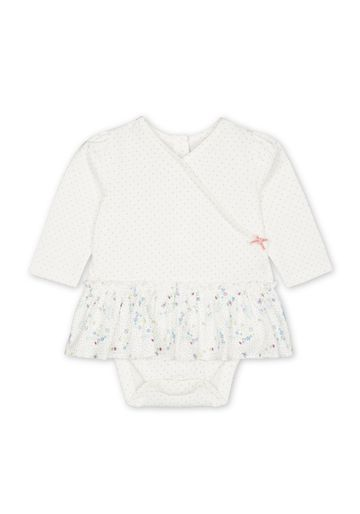 Mothercare | Girls Full sleeves Frock style Bodysuit - White