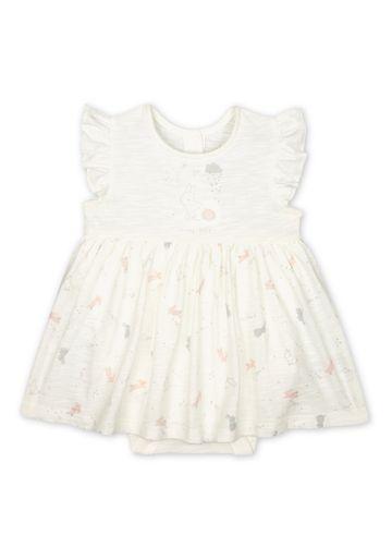 Mothercare | Girls Half Sleeves Romper Dress Bunny Print - White