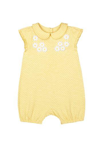 Mothercare | Girls Half Sleeves Romper Flower Details - Yellow