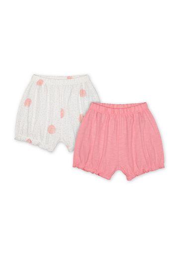 Mothercare   Girls Shorts Polka Dot Print - Pack Of 2 - Pink Cream