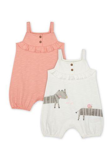 Mothercare   Girls Sleeveless Romper Zebra Print - Pack Of 2 - Pink Cream