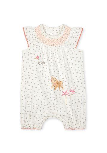 Mothercare   Girls Half Sleeves Smocked Romper Leopard Print - Cream