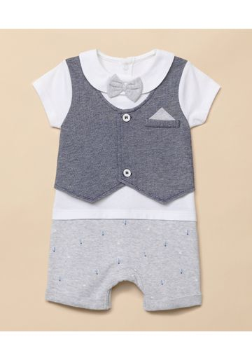 Mothercare | Boys Half Sleeves Romper Mock Waistcoat And Bow Detail - Blue White