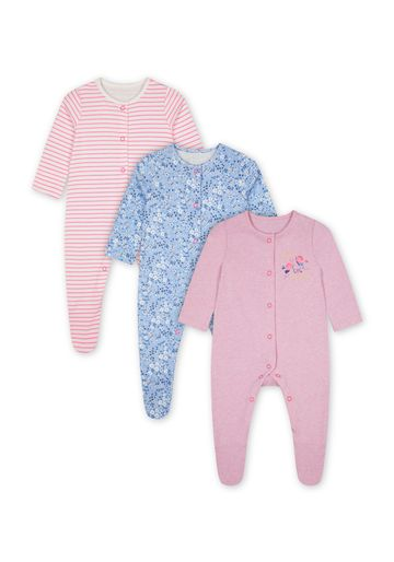 Mothercare | Girls Full Sleeves Sleepsuit Printed And Striped - Pack Of 3 - Multicolor