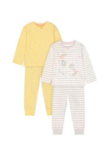 Mothercare   Girls Full Sleeves Pyjama Set Stripe And Star Print - Pack Of 2 - Yellow Grey