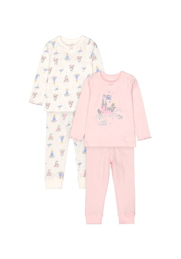 Mothercare   Girls Full Sleeves Pyjama Set Fairytale Print - Pack Of 2 - Pink Cream