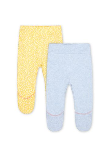 Mothercare   Girls Leggings Frill Details - Pack Of 2 - Yellow Blue