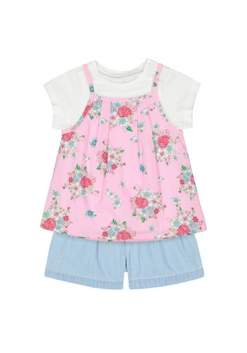Mothercare | Girls Half Sleeves T-Shirt And Shorts Set Floral Print - Multicolor