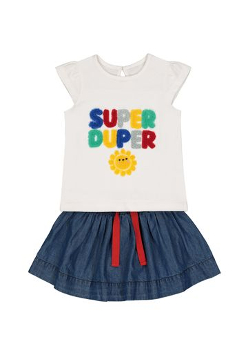 Mothercare | Girls Half Sleeves T-Shirt And Skirt Set Text Patch Work - White Blue