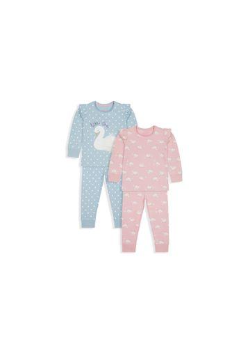 Mothercare | Girls Full Sleeves Pyjama Set Swan Print - Pack Of 2 - Pink Blue