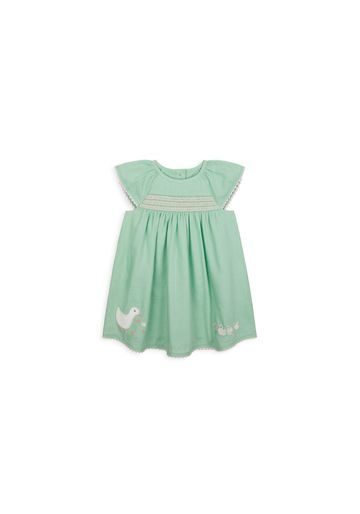Mothercare | Girls Half Sleeves Dress Embroidered - Green