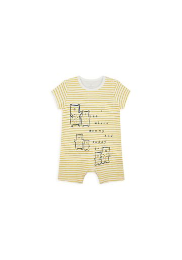 Mothercare | Boys Half Sleeves Romper Striped - Yellow