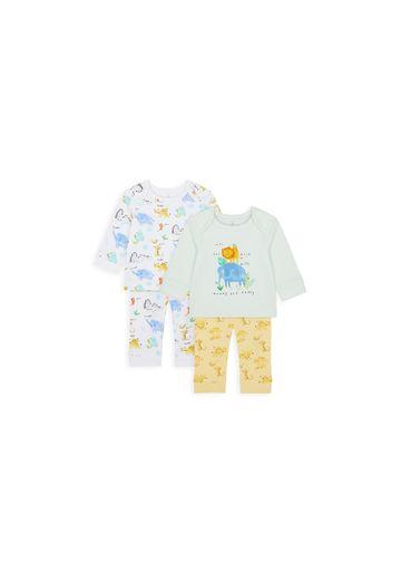 Mothercare | Boys Full Sleeves Pyjama Set Animal Print - Pack Of 2 - White