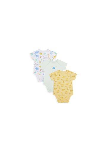 Mothercare   Unisex Half Sleeves Bodysuit Animal Print - Pack Of 3 - Multicolor