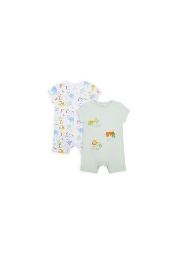 Mothercare | Unisex Half Sleeves Romper Animal Print - Pack Of 2 - Grey