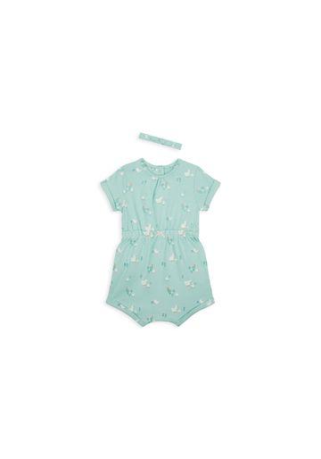Mothercare | Girls Half Sleeves Romper And Headband Set Duck Print - Green