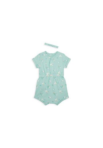 Mothercare | Girls Half Sleeves Romper Duck Print - Green