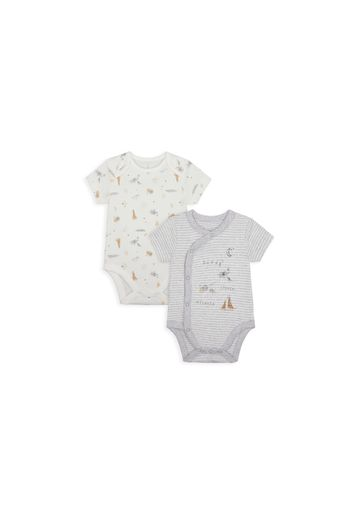 Mothercare | Unisex Half Sleeves Bodysuit Striped And Animal Print - Pack Of 2 - Grey White