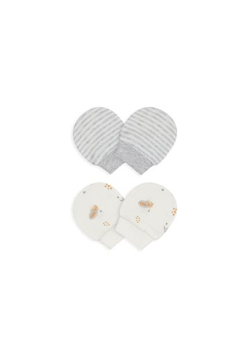 Mothercare | Unisex Mitts Striped And Printed - Pack Of 2 - Grey & White