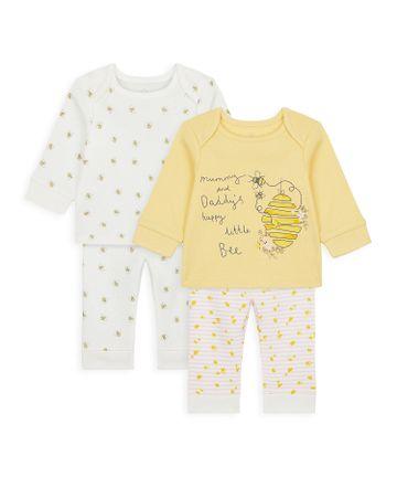 Mothercare   Girls Full Sleeves Pyjama Set Bee Print - Pack Of 2 - Yellow White