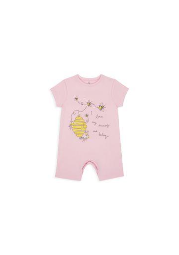 Mothercare | Girls Half Sleeves Romper Bee Print - Pink