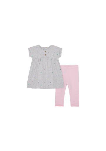 Mothercare | Girls Half Sleeves Dress And Legging Set Polka Dot Print - Grey Pink