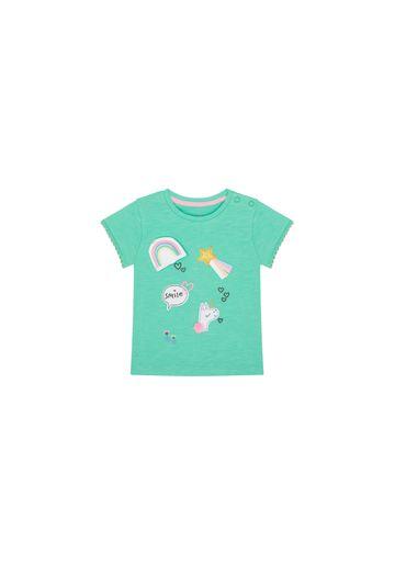Mothercare   Girls Half Sleeves T-Shirt Unicorn Patchwork - Green