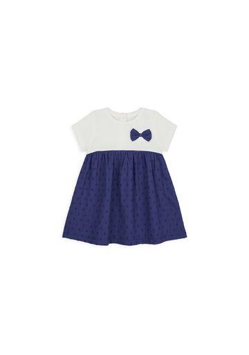 Mothercare | Girls Half Sleeves Dress Bow Detail - White Navy