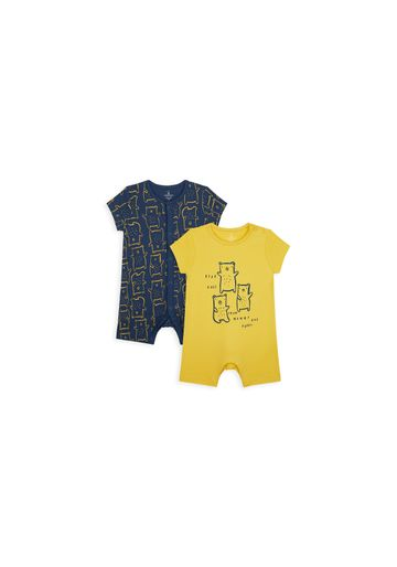 Mothercare | Boys Half Sleeves Romper Bear Print - Pack Of 2 - Navy Yellow
